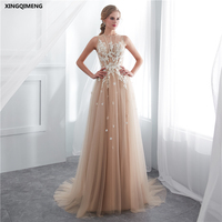 In Stock Sexy Beach Champagne Wedding Dress Appliques Elegant Tulle White Wedding Dresses Long Chic Bridal Gown Formal Dress