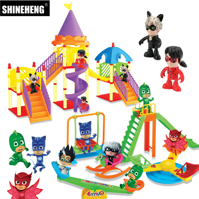 SHINEHENG Miraculous Ladybug Playground Pyjamasque Parking Toys Catboy Owlette Gekko Cloak Action Figure Doll Gift for Child pj cartoon pj masks command center car parking toy lot car characters catboy owlette gekko masked figure toys kids party gift