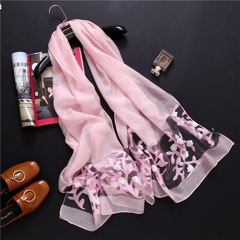 Embroidery Shawl Scarves Hijab Pashmina Silk Organza Floral Female Women Ladies Luxury
