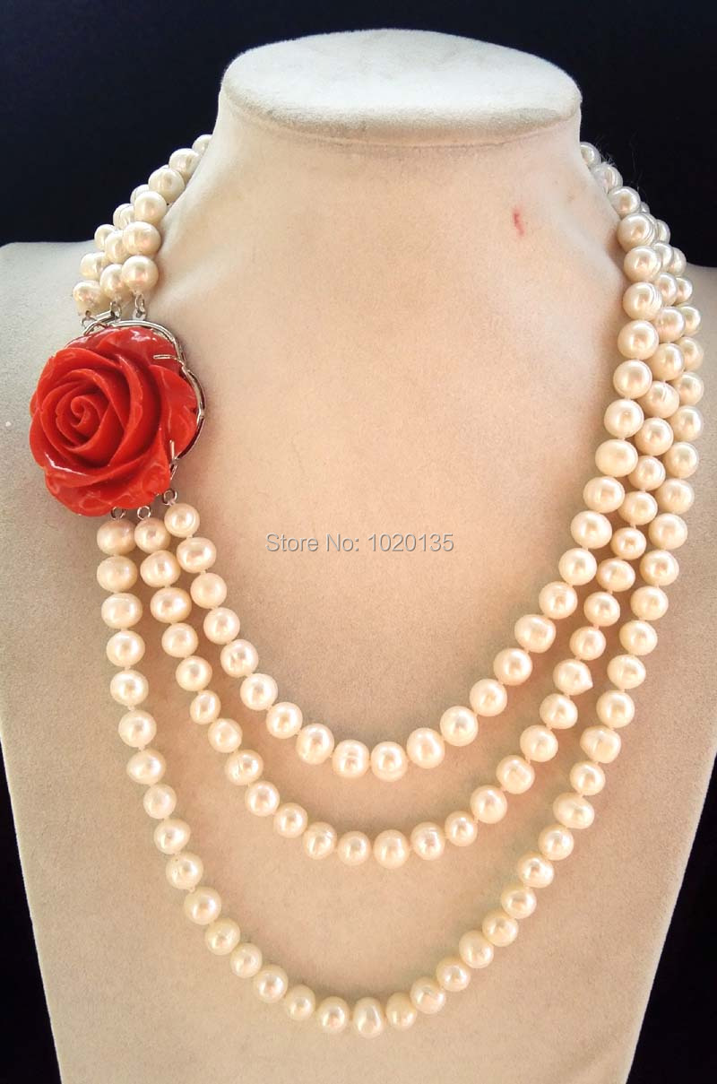 3rows freshwater pearl white near round 8 9mm 17 20inch necklace red flower clasp wholesale bead
