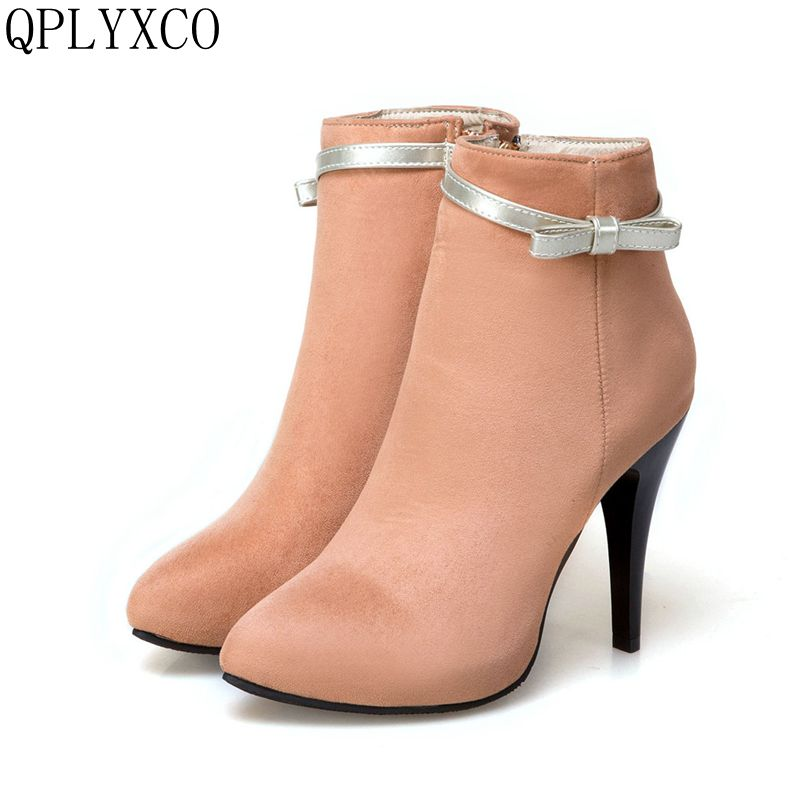 QPLYXCO 2017 New Big size 31-50 Genuine Leather ankle boot short Sexy Women's pointed Toe high heels wedding Party shoes T2-5 qplyxco 2017 new sale ladys big size 30 47 shoes women pumps fashion sexy high heels shoes party wedding pointed toe shoes a 3