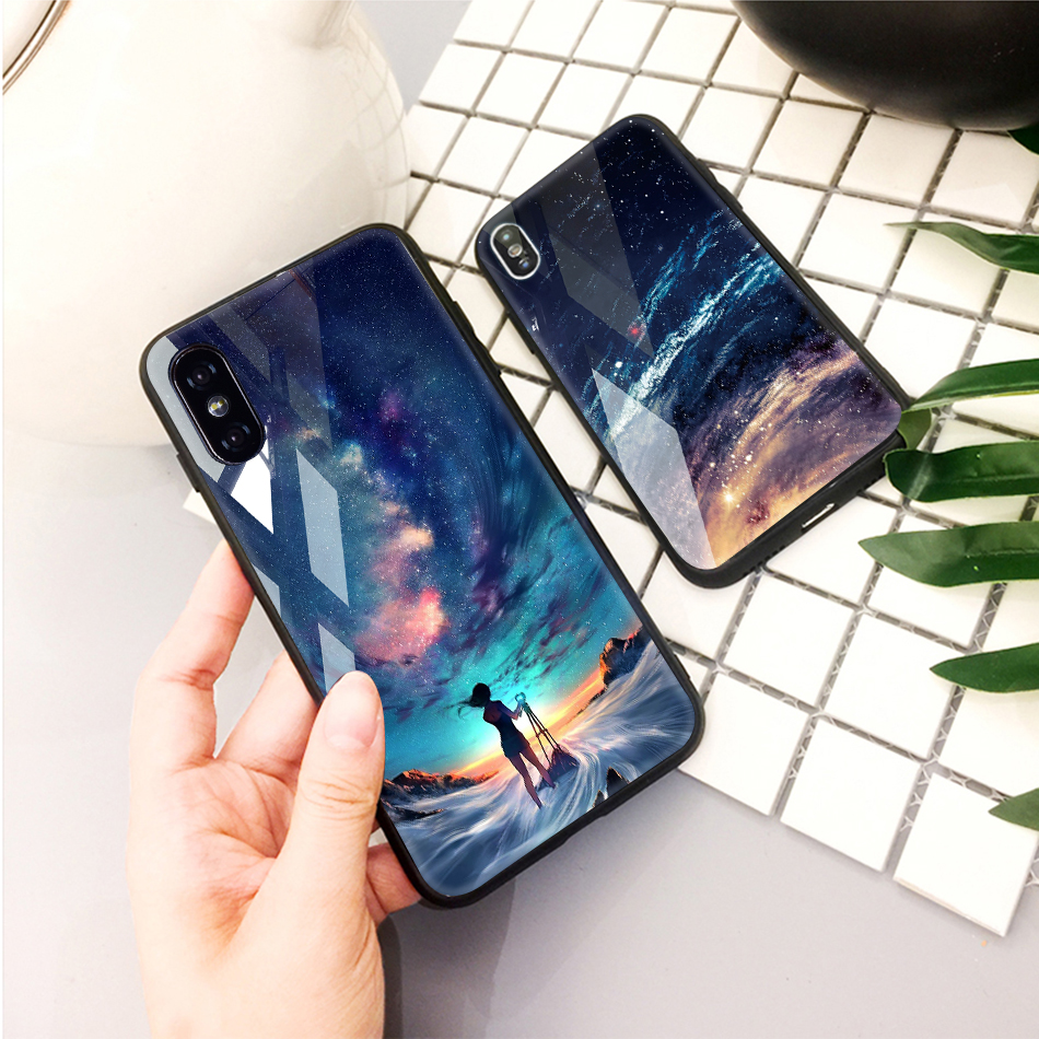 TOMKAS Tempered Glass Case For iPhone XS Max XR XS Silicone Stars Space Cover Phone Case For iPhone X 10 XS XR Luxury Cases TPU  (17)