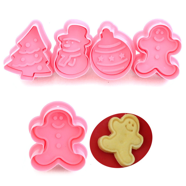 New 4pcs/pack Cookie Stamp Biscuit Mold 3D Cookie Plunger Cutter DIY Baking Mould Gingerbread House Christmas Cookie Cutter BTZ1