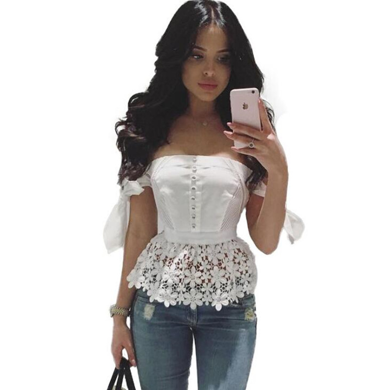 Women Lace Patchwork Peplum Top Sexy Slash Neck Off Shoulder Bow Blouse Shirt Summer Female Beach Casual Lace Tops White