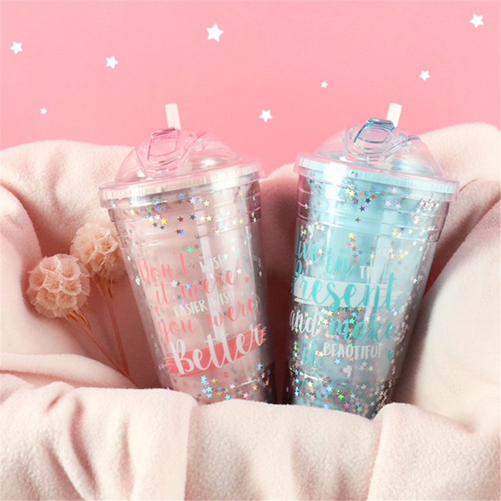 Coffee Mugs Creative Sequin Star BPA Free Plastic Water Bottle With Straw Travel Portable Tea Milk Insulated Cup Drinkware 420ML