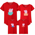 Casual Family Set O-neck Cartoon T shirt Cotton Family Clothing Family Style T shirt Clothes 3XL 4XL 5XL 15 Colors BK9