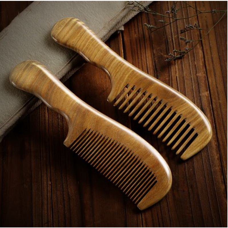 220804/Natural green sandalwood combs anti-static curly hair massage comb cherry wood comb set horn comb