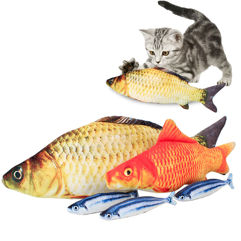 9 Color Pet Cat Toys Catnip Simulated Fluffy Fish Artificial Fish Toy for Baby Cat Kitties Clear Original Printing 20cm 30cm