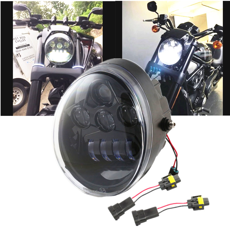 Black V-Rod Muscle Night Rod LED Motorcycle Headlight For  V Rod VRSCF VRSC VRSCR 2002-2017