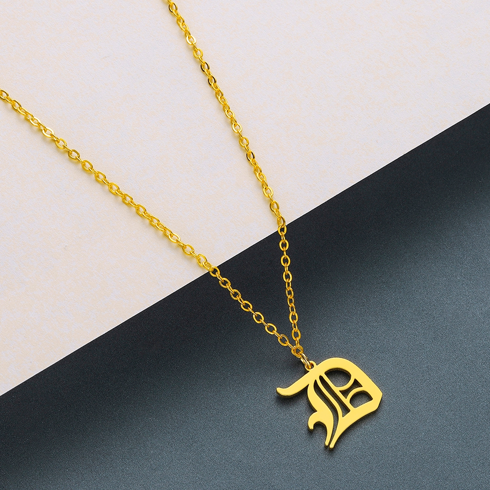 Todorova Old English Custom Capital Initial A-Z Letter Pendant Necklace Men Vintage Font Personalized Necklace Women Jewelry 12