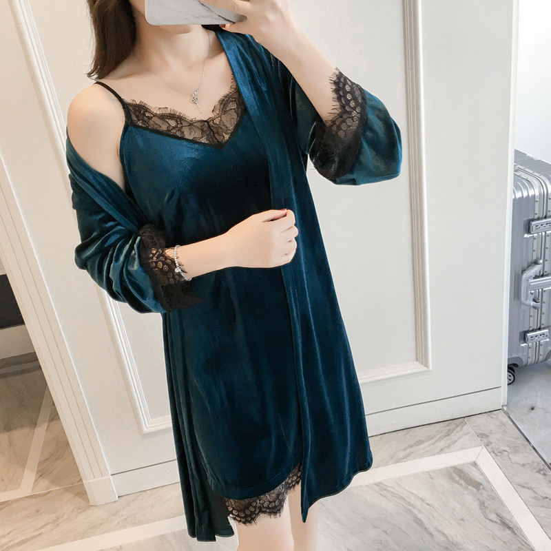 ee09469408 Detail Feedback Questions about Women Sexy Velvet 2 PCS Robe Set Lady  Autumn Sleepwear Kimono Bathrobe Gown Home Dress Winter Warm Lace Patchwork  Nightgown ...