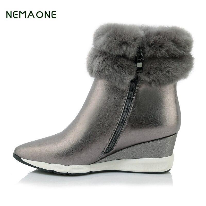 NEMAONE 2017 Fashion Genuine Sheepskin Leather Snow Boots Natural Fur Winter Boots Waterproof Warm 100% Wool Boots Women Boots цены онлайн