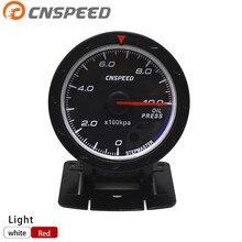 Free shipping CNSPEED 60MM Car Oil pressure Gauge 0-10 BAR Oil Press Meter Red & White Lighting Auto Gauge /Car Meter YC101166