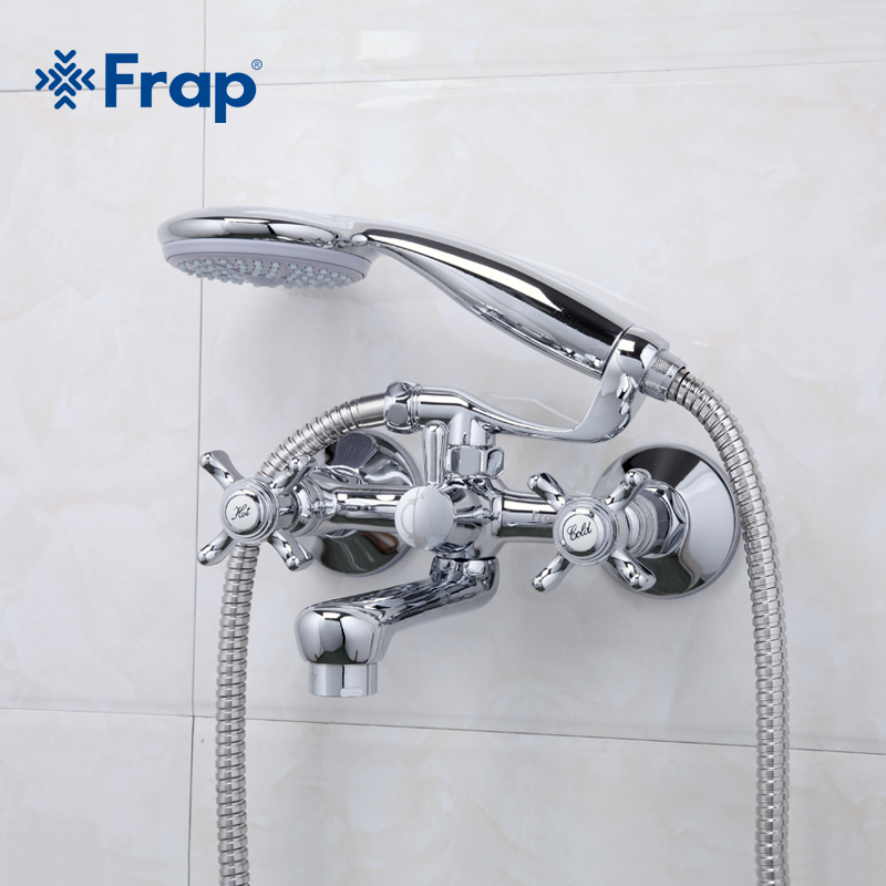 Frap Classic Style Bathroom Faucets Short Outlet Tube 180 Degrees Rotation Dual Handle Hot and Cold Water Mixer F3024