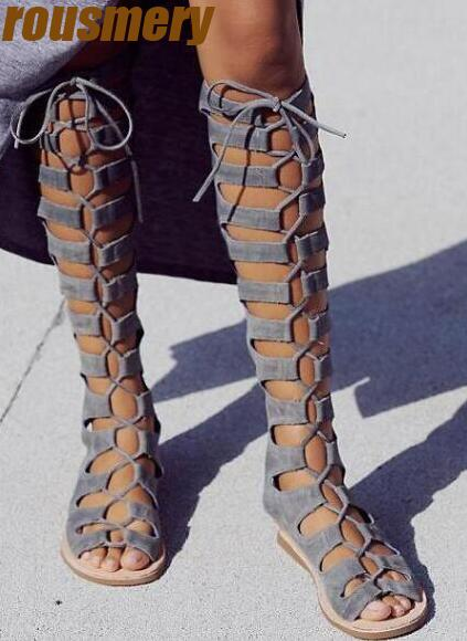 цены на Fashion Gray Suede Leather Women Lace Up Boots Sexy Open Toe Ladies Gladiator Boots Zipper Back Female Summer Knee High Boots в интернет-магазинах