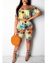 Print sets Women Two Piece suit summer Street one shoulder Tops and short pants Set Suits Casual 2pcs Outfits pearl beading black tracksuits women two piece set 2018 street t shirt tops and jogger set suits casual bodcon 2pcs outfits