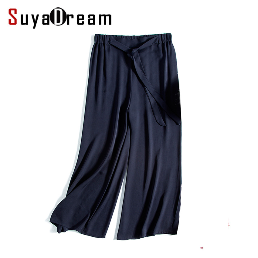 Women   Wide     leg     pants   100% REAL silk Fashion Solid Navy Loose   pants   Belted Elastic Waist under   pants   2017 Fall Black