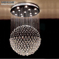 Роскошный потолочный светильник с круглыми кристаллами  потолочная лампа для фойе  столовой  K9  кристаллический шар  подвесное освещение  д...