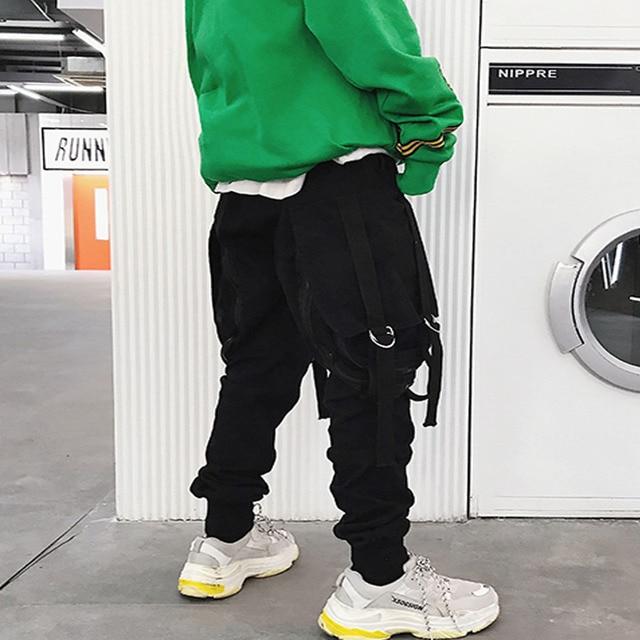 Japan ulzzang Style Pants men big pocket zipper loose casual harem pants baggy slacks trousers hip hop joggers male cross-pants 5