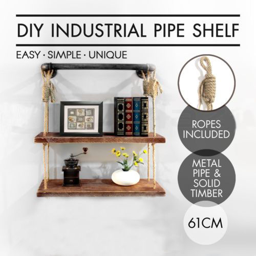 Industrial Urban Iron Pipe Wall Mounted Shelfcotton ropes 2 Layers Wooden Board Shelving Home Restaurant Bar Shop Decor Storage