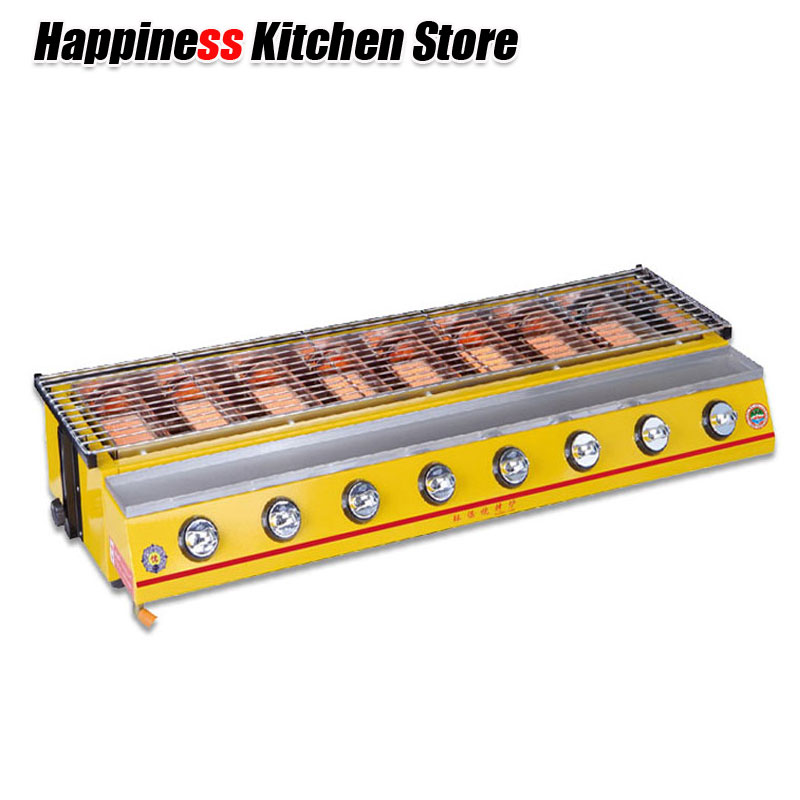8-Burners BBQ Gas Grill LPG Gas Barbecue Silver Yellow Stainless Steel Painting Stove Commercial or Party Outdoor Use