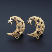 African Earrings Post Loop Connectors Filigree Moon Star Chile Dubai Women Wedding Ear Clip Clasps Earring Findings DIY Jewelry(China)