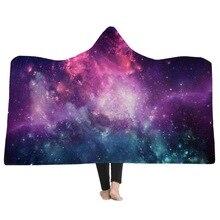Милый кот печати носимых с капюшоном пледы мягкое теплое одеяло Красочные звездное небо диван с принтом диван кровать флис ткань одеяла