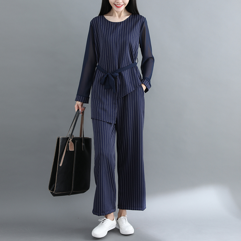 Striped Two Piece Sets Women Long Sleeve Blouses With Belt And Wide Leg Pants Suits Spring Autumn Casual Elegant Ol Style Sets 30