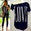 Hot New Summer Womens Sexy Fashion Loose Short Sleeve Black Tops Shirt Love Blouse