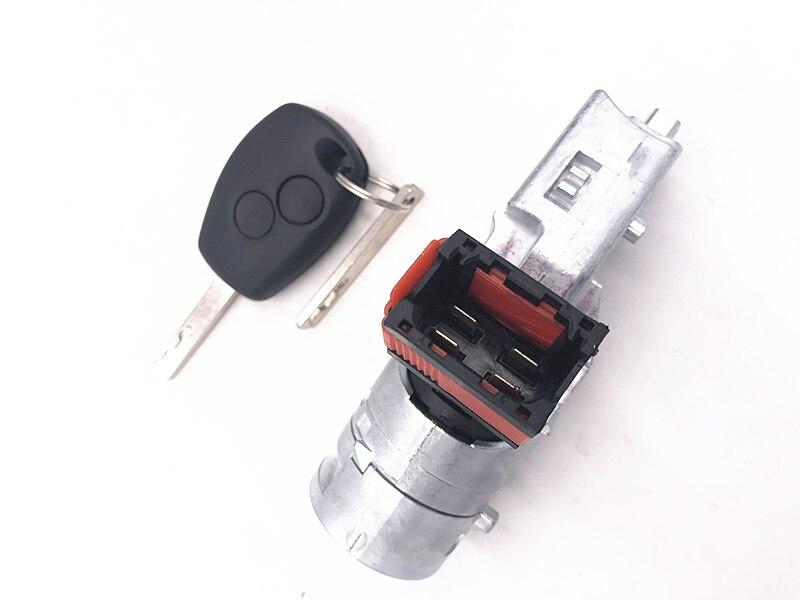 Cilindro di Blocco di accensione Interruttore di Avviamento + Chiave per la Renault per Vauxhall Fiat 2005-2012 7701208408 8200214168 N0502064 N0502060 N0502057