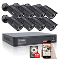 ZOSI 8CH HDMI 720P DVR 8pcs 1200TVL IR Home Surveillance Security Cameras CCTV System with 1TB HDD