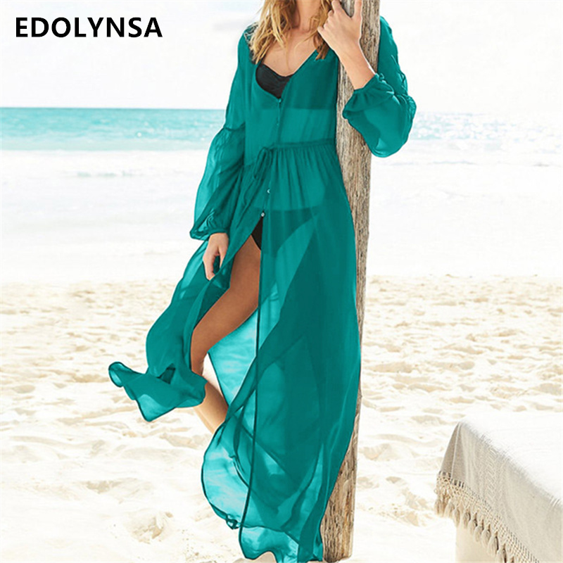 f1971f3c31ab9 Detail Feedback Questions about Chiffon Swimsuit cover up Beach Cardigan  Sarong Robe de Plage Beachwear kaftans long Beach Dress Womens Swim Wear   Q331 on ...