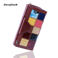 100 Genuine Leather Women S Wallet Clutch Women Purse With Phone Pocket Panelled Patchwork Leather Purses