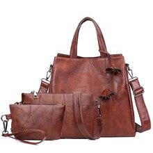 Женская сумка через плечо из искусственной кожи с цветком, высокое качество, женские сумки, новые модные дизайнерские повседневные женские сумки из 3 предметов