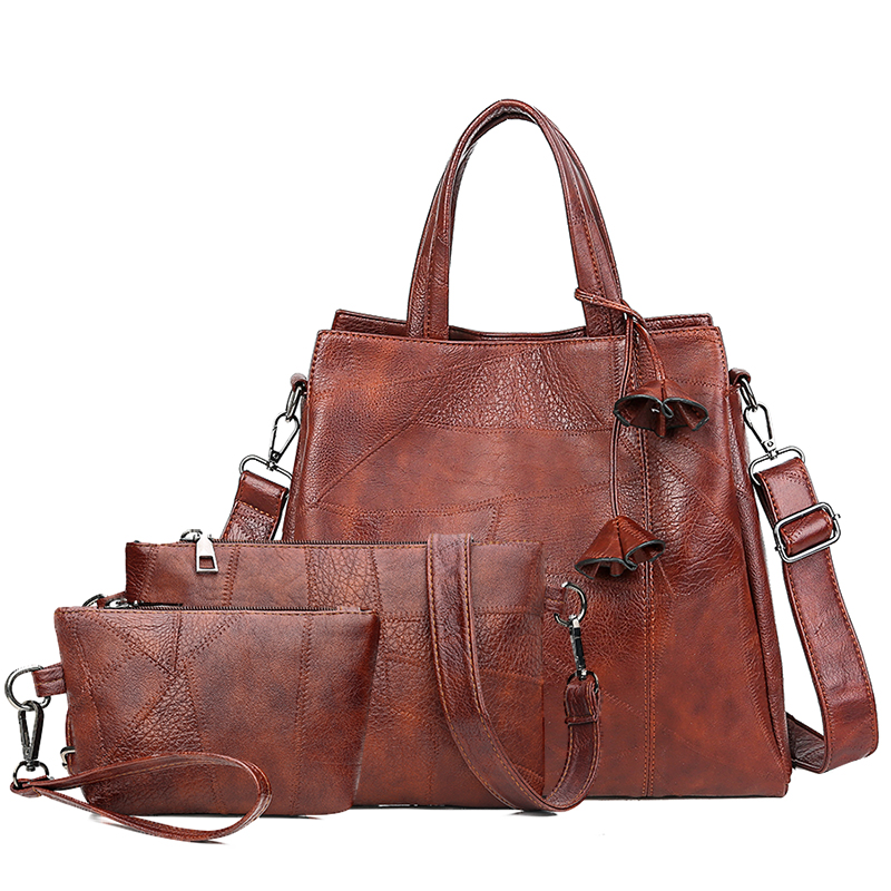 Women PU Leather Shoulder Bag With Flower High Quality Ladies Handbags New Fashion Designer Casual Female 3 Pieces Set Tote Bags