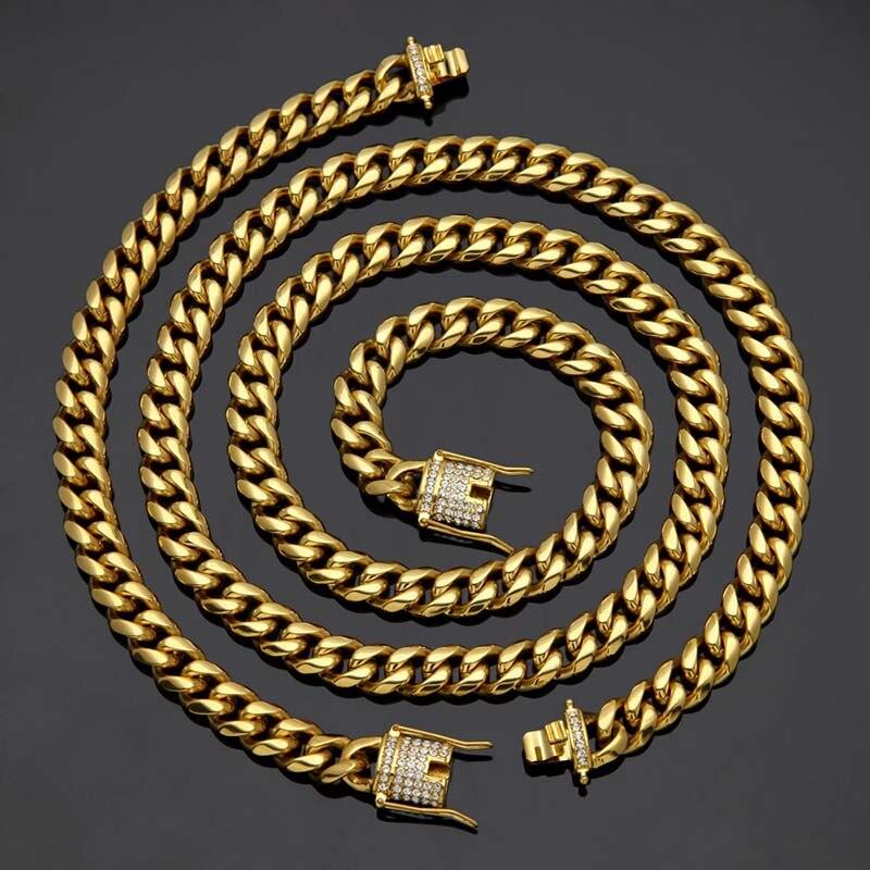Hanche largeur 10MM12MM or argent 316L acier inoxydable Figaro chaîne collier pour hommes bijoux 30 pouces longueur colliers livraison directe