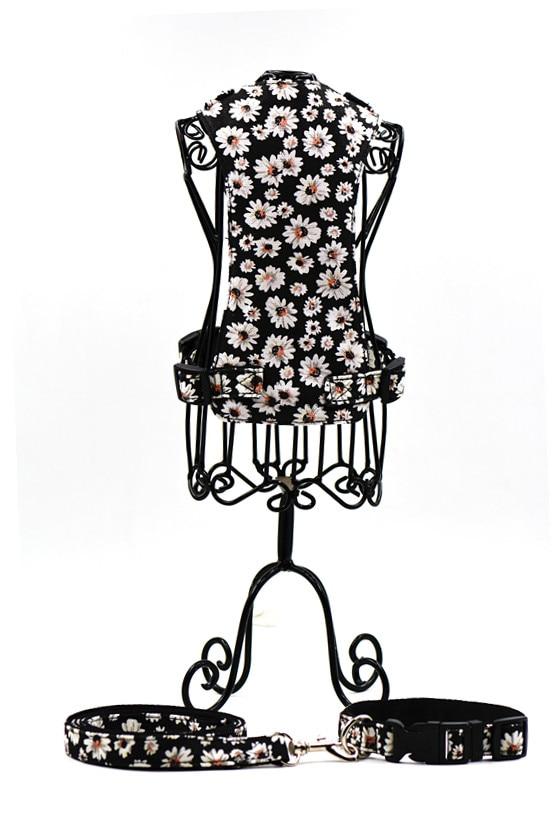 Nylon chrysanthemum dog harness+collar+leash black