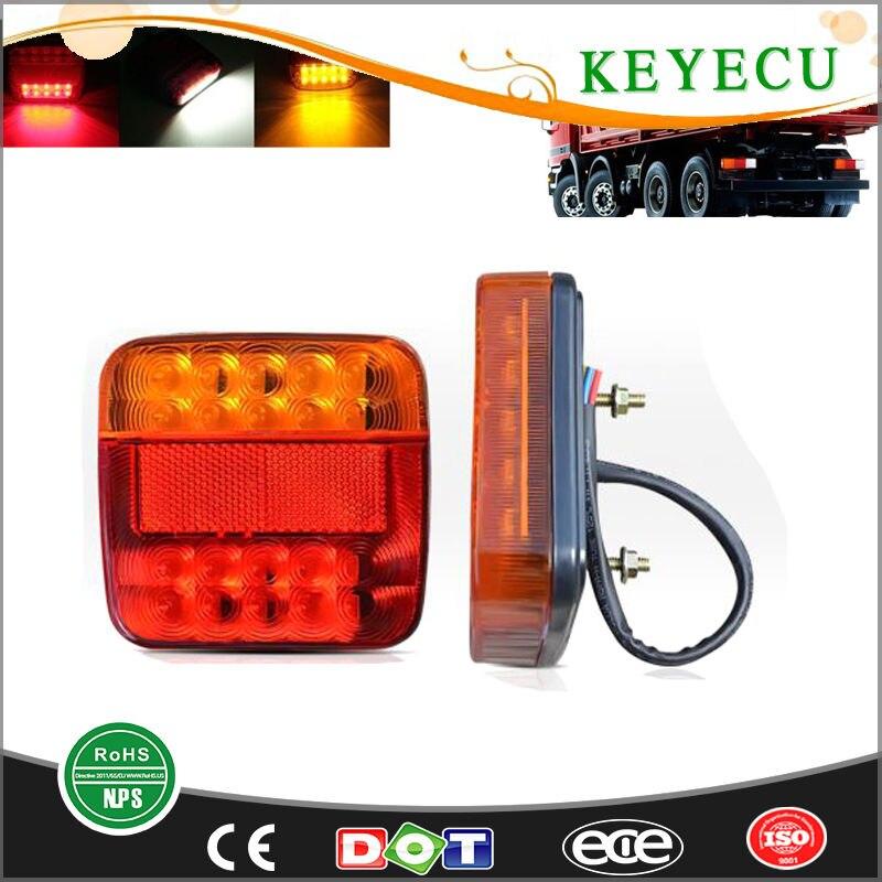 Keyecu 2pcs 12v 20leds Trailer Truck Tail Light Turn