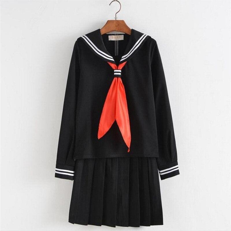 d48423475e GYHYD uniforme escolar japonés S-XXXL Anime Cosplay disfraces Seifuku Top +  falda + Tie traje de marinero