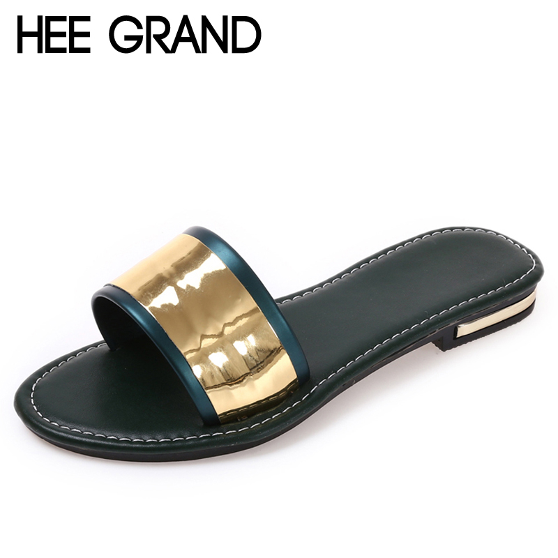 HEE GRAND Beach Slippers 2017 New Summer Flats Slides Casual Bling Shoes Woman Slip On Platform Women Shoes 4 Colors XWZ3980 phyanic crystal shoes woman 2017 bling gladiator sandals casual creepers slip on flats beach platform women shoes phy4041