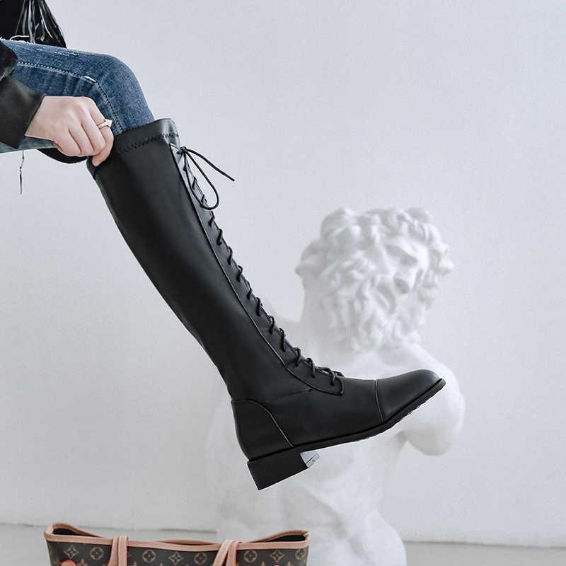 WETKISS Motosiklet Botları Kadın Düşük Topuklu Çizme Yuvarlak Ayak Ayakkabı Kadın Ordu Ayakkabı Bayanlar Çapraz Bağlı Ayakkabı Kış Artı Boyutu 32-46