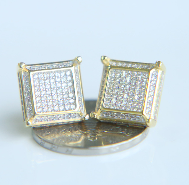 2018 Boy Men Earrings Hip Hop Jewelry Real Micro Pave Cz Iced Out Scrweback