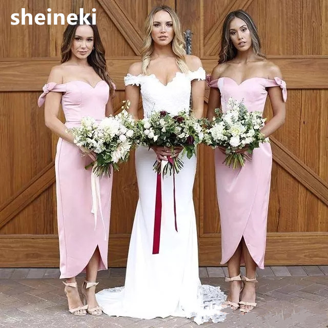 Sheath Wedding Dresses 2019: Hot Sales Pink Sexy Off Shoulder Bridesmaid Dresses 2019