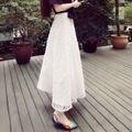 plus size vintage skirts womens 2016 summer style korean vestido saia feminina women long thicken white  lace skirt A0902
