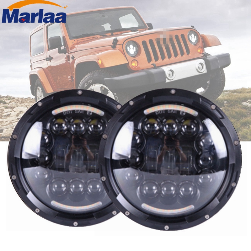 7 LED Round Led Headlights With DRL Hi/lo Beam For Jeep Wrangler Jk Tj Harley Davidson MACK R Peterbilt Kenworth Freightliner 2pcs new design 7inch 78w hi lo beam headlamp 7 led headlight for wrangler round 78w led headlights with drl
