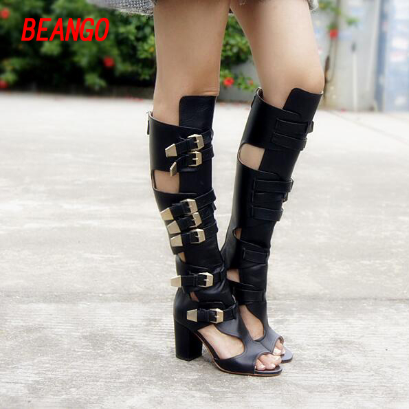 BEANGO Cow Leather Lady Knee High Sandal Summer Boots Buckle Belt Chunky Heel Cool Gladiator Hollow Sexy Cool Boots stylesowner elegant lady pumps sandal shoe sheepskin leather diamond buckle ankle strap summer women sandal shoe