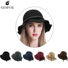 c8dd1a2901a Women Bucket Hat Felt Hats Vintage Dome Bucket Cap Ladies Trendy Elegant  Soft Large Wide Brim