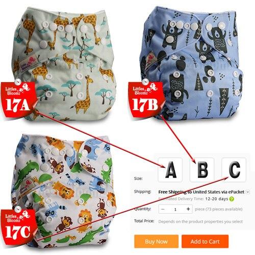 [Littles& Bloomz] Детские Моющиеся Многоразовые Тканевые карманные подгузники, выберите A1/B1/C1 из фото, только подгузники/подгузники(без вставки - Цвет: 17