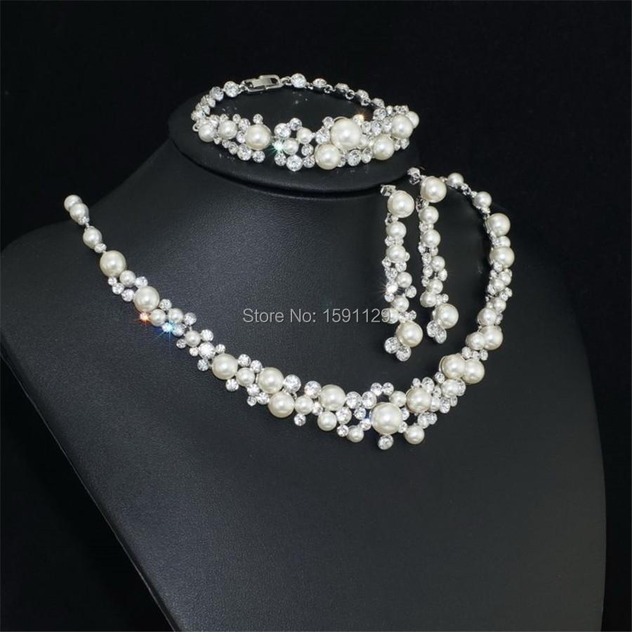 Wholesale Fashion Silver Color Crystal Pearl Wedding Costume Jewelry Sets Necklace Earrings For Women Bridal In From Accessories On