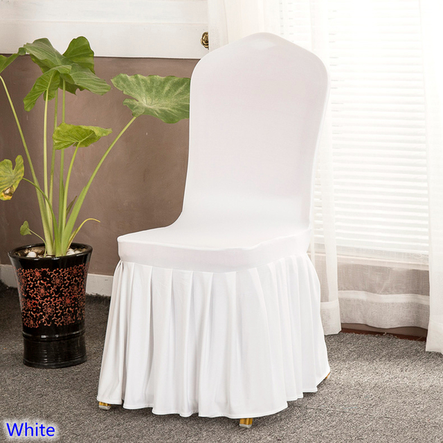 Superb White Colour Lycra Chair Cover With Skirt All Around The Chair Bottom  Spandex Skirt Chair Cover